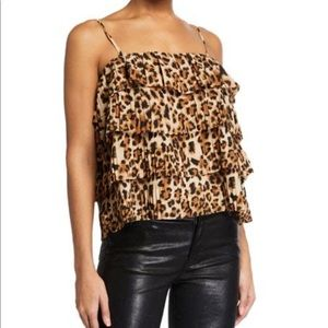 Endless Rose Leopard Tiered Ruffle Sleeveless Top